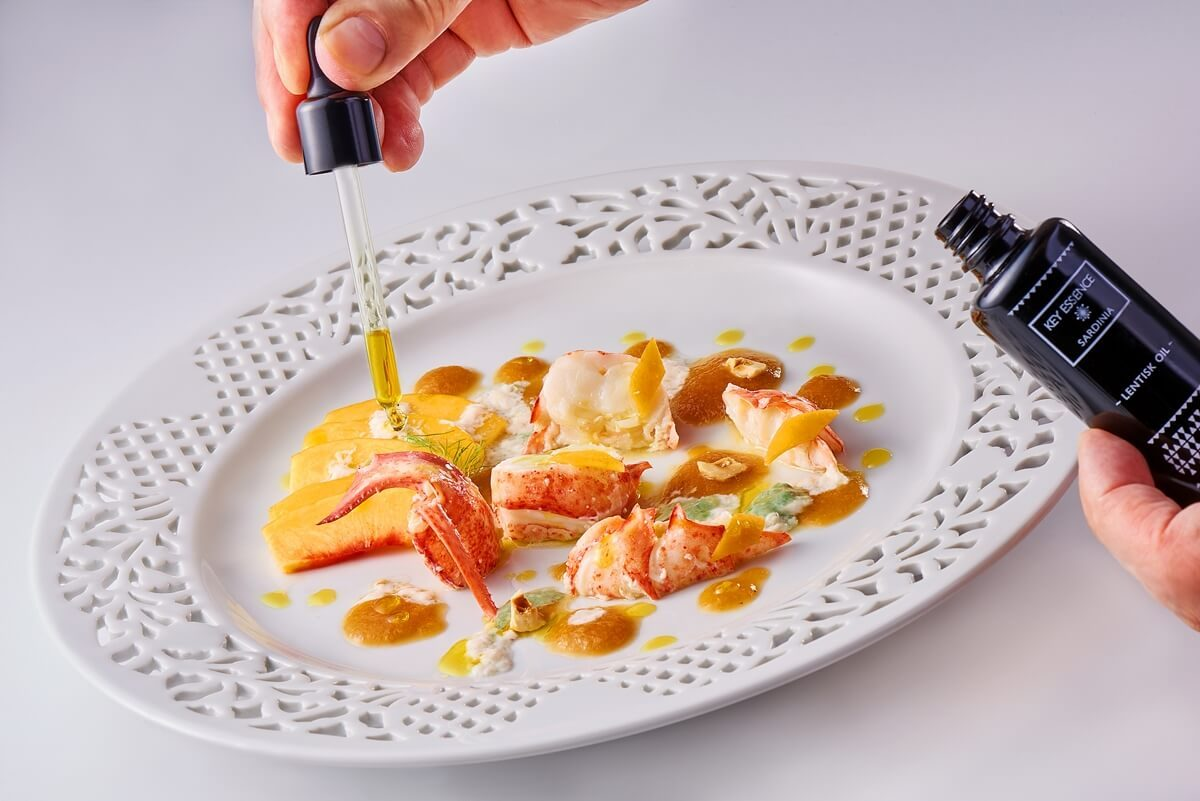 European Lobster salad with hazelnuts, late harvest peaches and Lentisk Oil